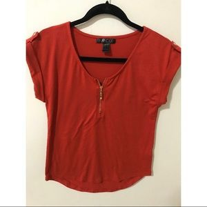 4/$25 Mandee red/gold top blouse